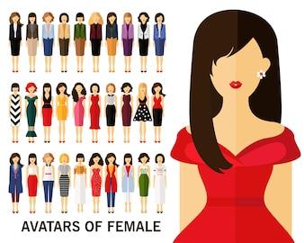 Avatares de fundo conceito feminino