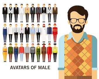 Avatares de fundo do conceito masculino