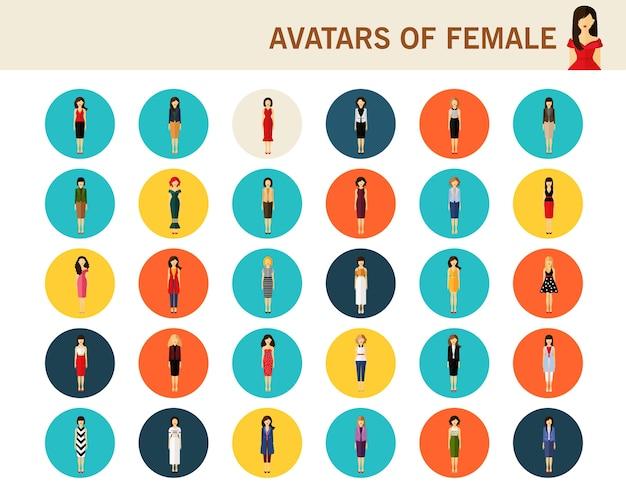 Avatares de ícones plana conceito feminino.