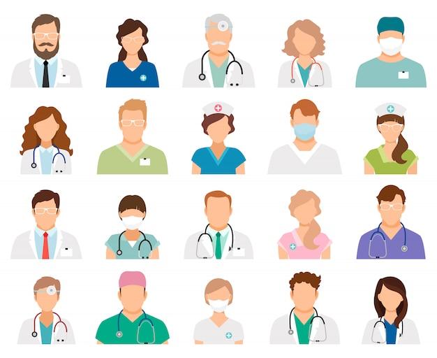 Avatares de médico profissional isolados. profissionais de medicina e pessoal médico ilustração vetorial de pessoas