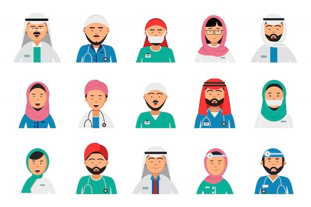 Avatares de médicos árabes. enfermeiro dentista masculino e feminino árabe muçulmano islam hospital pessoal profissões de saúde