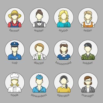Avatares de mulheres em um círculo com o nome. conjunto de diferentes profissões femininas. agricultor, médico, policial, gerente, vendedor e outros.