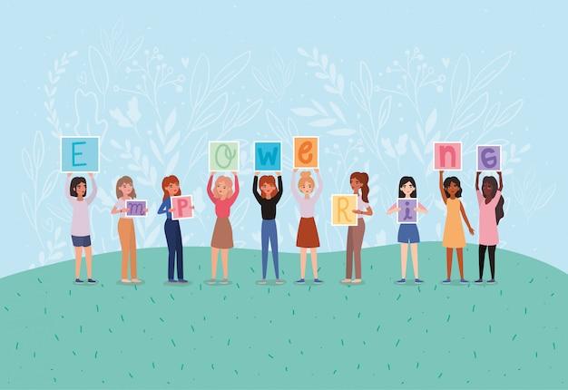Avatares de mulheres segurando bandeiras de texto fortalecedoras