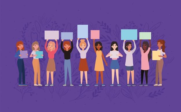 Avatares de mulheres segurando bandeiras