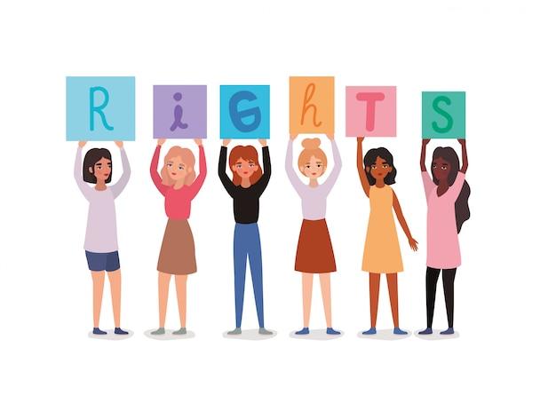 Avatares de mulheres segurando faixas de texto de direitos