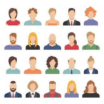 Avatares de negócios de pessoas. equipe avatares trabalhando escritório profissional jovem feminino masculino cartoon rosto retrato design plano conjunto de ícones