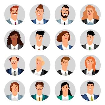 Avatares de negócios dos desenhos animados