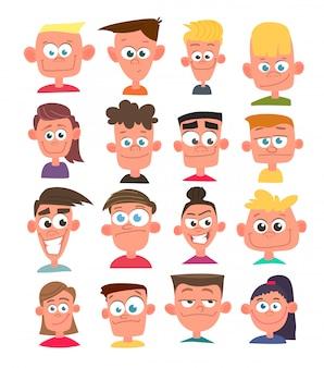 Avatares de personagens em estilo cartoon.