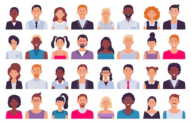 Avatares de pessoas adultas. homem de terno, avatar de mulher corporativa e conjunto de ilustração de ícone de pessoa profissional