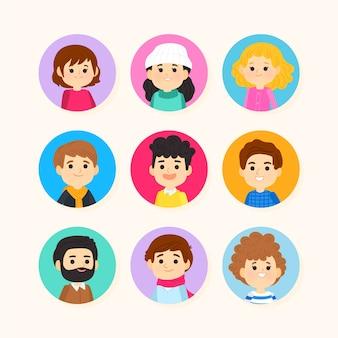 Avatares de pessoas cartum projeto