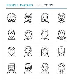 Avatares de pessoas conjunto de ícones de linha fina.