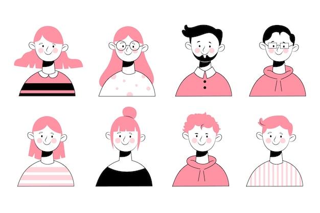 Avatares de pessoas de design de mão desenhada