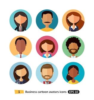 Avatares de pessoas de negócios coleção ícones planas da equipe de trabalhadores