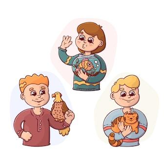 Avatares de pessoas dos desenhos animados segurando sua coleção de animais de estimação