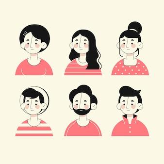 Avatares de pessoas estilo mão desenhada