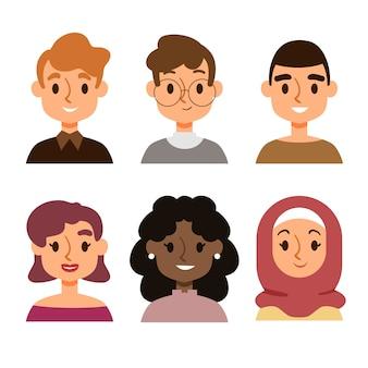 Avatares de pessoas ilustradas conceito