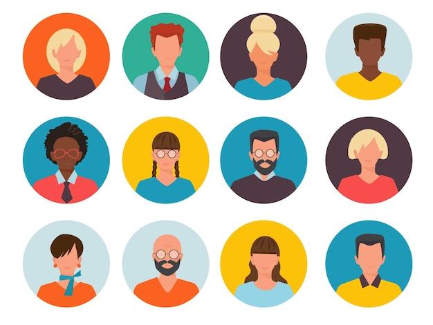 Avatares de pessoas. imagens de identificação de perfil cv cabeça do empresário e coleção de mulheres.