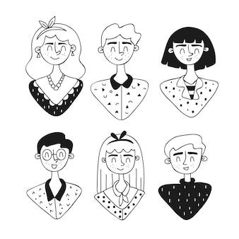 Avatares de pessoas mão design desenhado