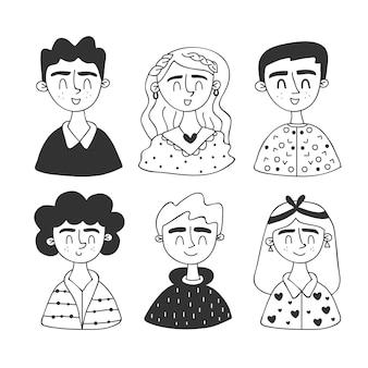 Avatares de pessoas mão estilo desenhado