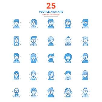 Avatares de pessoas modernas ícones de cor de linha plana