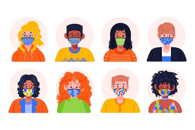 Avatares de pessoas usando máscaras de tecido