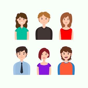 Avatares de pessoas vestindo roupas casuais e de escritório