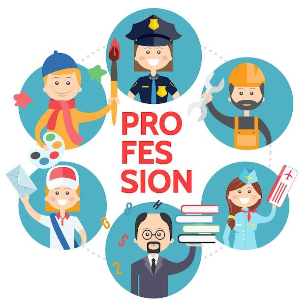Avatares de profissão plana redondos conceito com artista policial construtor aeromoça professor carteiro