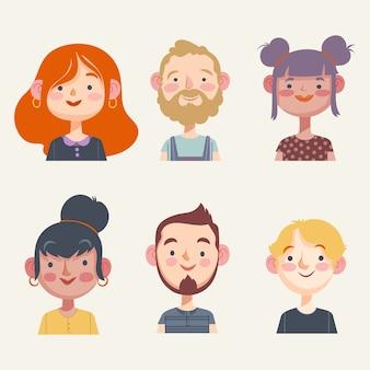 Avatares do grupo de pessoas da ilustração