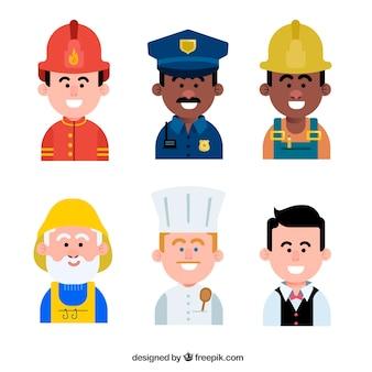 Avatares do smiley com diferentes empregos
