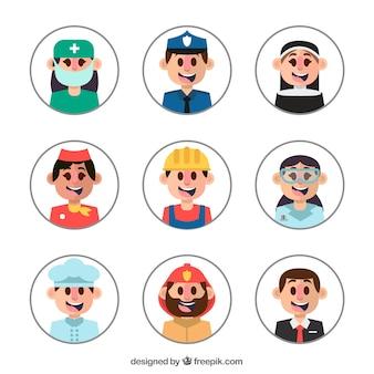 Avatares do smiley com diferentes profissões