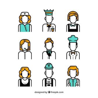Avatares dos trabalhadores mínimos