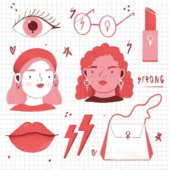 Avatares e acessórios femininos