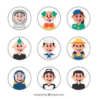 Avatares felizes com diferentes profissões