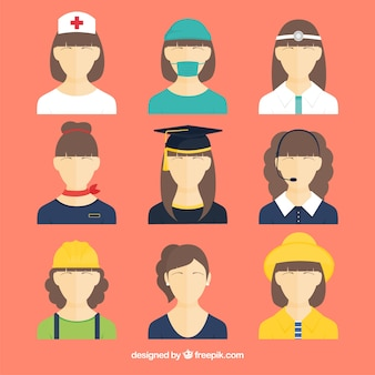 Avatares femininos com diferentes empregos