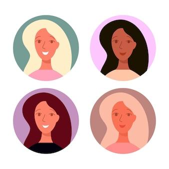 Avatares femininos com ícones do vetor de penteado elegante. rostos sorridentes, morenas e loiras com cabelos luxuosos.