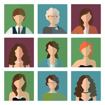 Avatares femininos definido no estilo do office