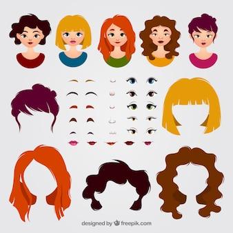 Avatares femininos e pacote de elementos