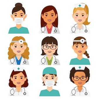 Avatares femininos plana medicina conjunto com médicos e enfermeiros