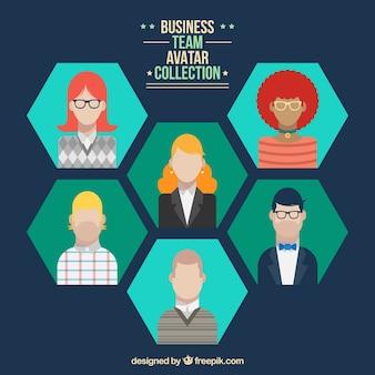 Avatares hexagonais de equipe de negócios