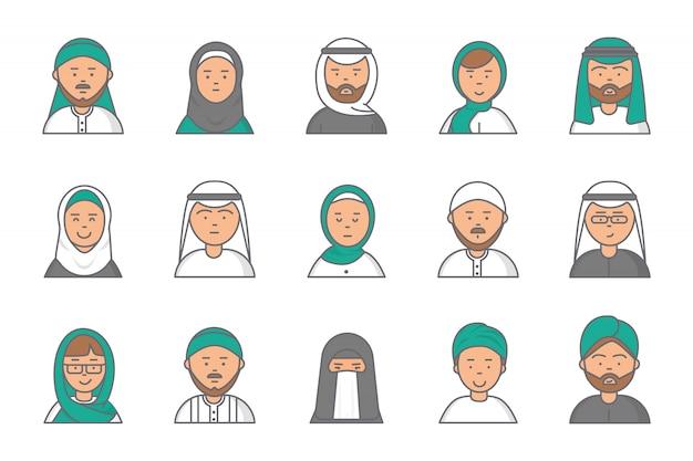 Avatares lineares do islã. árabe muçulmano saudita rostos masculinos e femininos para perfil da web