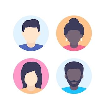 Avatares, marcador de posição de foto padrão, fotos de perfil multirraciais