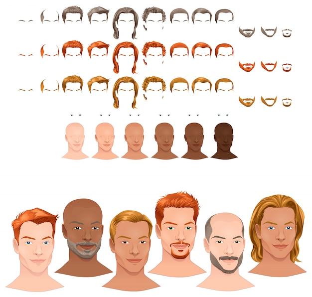 Avatares masculinos 8 penteados e 3 pêlos faciais em 3 cores diferentes 6 cores olho 6 tons de pele para múltiplas combinações nesta imagem alguns objetos ficheiro pré-visualizações do vetor isolado