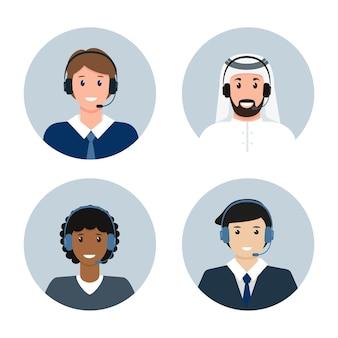 Avatares masculinos de call center ou atendimento ao cliente