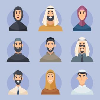 Avatares muçulmanos. retratos de vista frontal de personagens árabes masculinos e femininos enfrenta pessoas do leste do vetor. ilustração de avatar muçulmano de homem e mulher