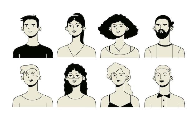 Avatares ou ícones de pessoas em estilo minimalista.