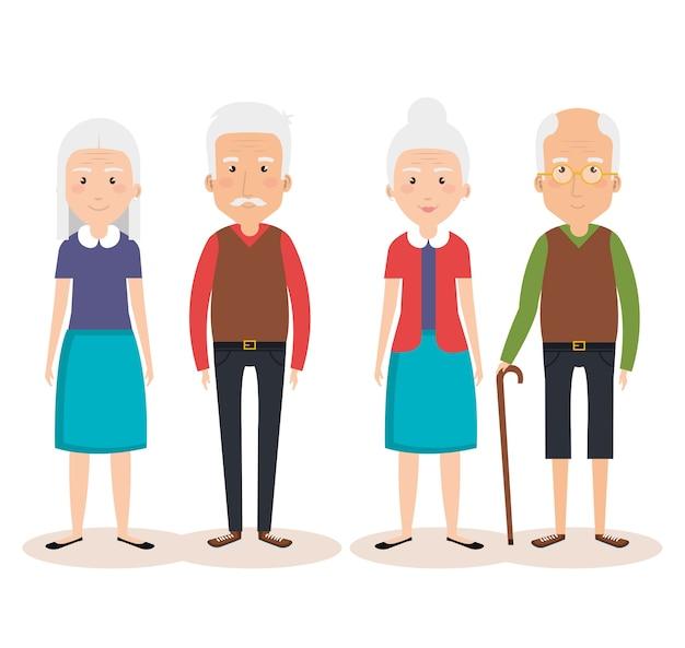Avatares personagens do grupo de avós