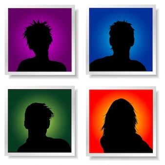 Avatares pessoas em fundos coloridos brilhantes