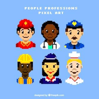 Avatares trabalhadores pixelizada