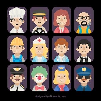 Avatares variados de funcionários