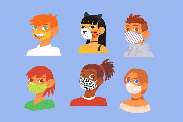 Avatares vestindo máscaras de tecido bonito